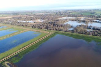 Middle Farm (foreground) and Woodwalton Fen (background) on 25 December 2020
